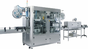 Automatic double head sleeve labeling machine