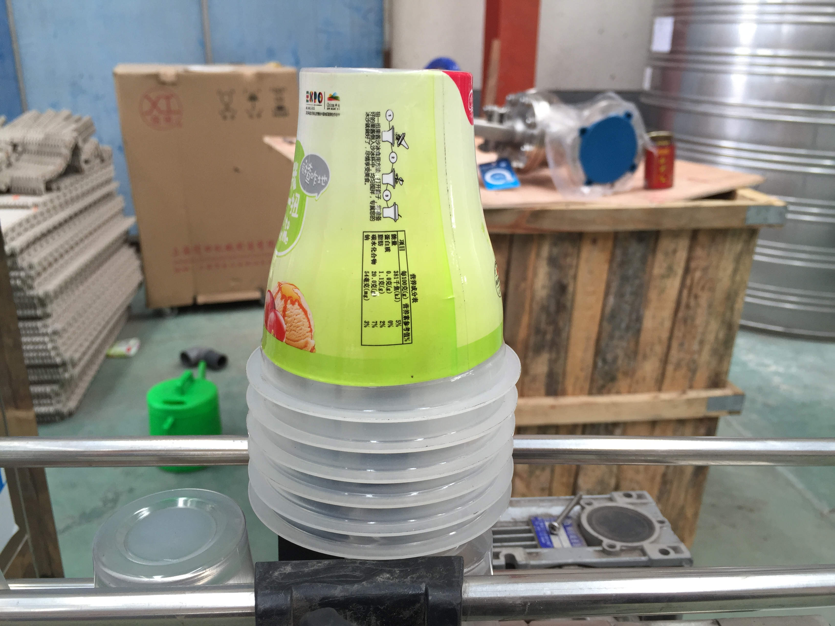 Automatic sleeve shrink labeling machine for plastic cup